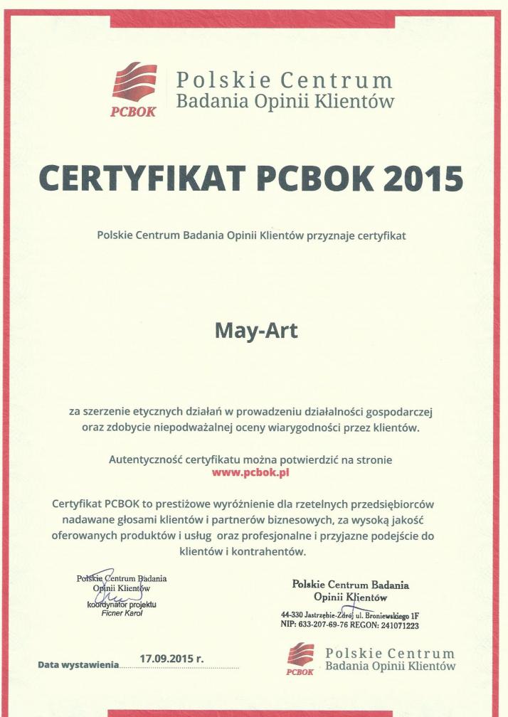 Certyfikat PCBOK 2015 dla firmy May-Art