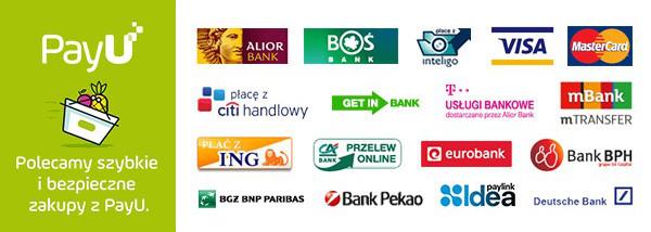 Obsługujemy szybkie płatności PayU. Błyskawicznie zapłacisz za produkt przy pomocy jednego z ponad 20 banków.
